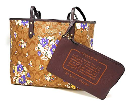 Khaki Signature City Reversible F36609 PVC Coach Tote Floral a4Up6Uq