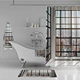 iPrint Bathroom 4 Piece Set Shower Curtain Floor mat Bath Towel 3D Print,Apartments from Square Shape Windows Photo,White,Fashion Personality Customization adds Color to Your Bathroom.