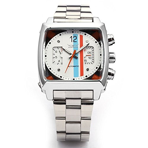 Swiss Army Date Wrist Watch - Mens Sports Automatic Mechanical Analog oblong Watch Date Silver Stainless Steel Wrist Watch (Silver white)