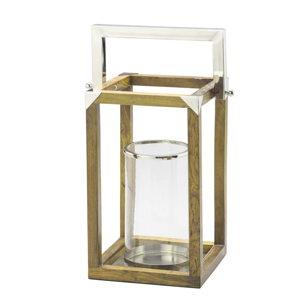 Lanterna Decorativa com Alça de Aço com Estrutura de Madeira e Vidro para Vela 25 x 63 cm, Lyor, Amadeirado, Único