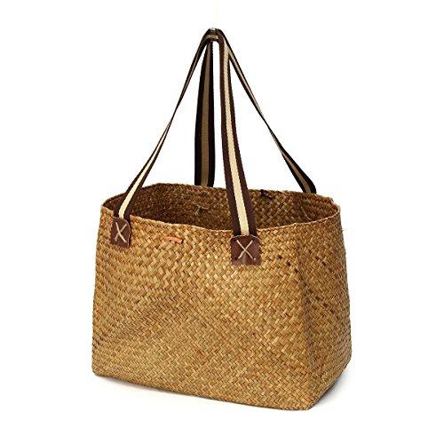 (Straw Market Bag, Women's Classic Straw Summer Beach Sea Shoulder Bag Handbag Tote Storage Bag with Handle for Shopping Beach)