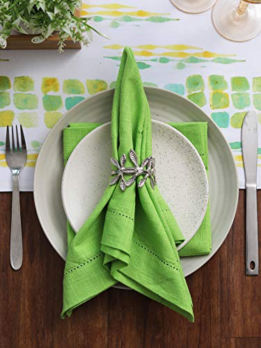 Ramanta Home 6-Pack 100% Slub Cotton Hemstitched Dinner Napkin Oversized 20x20 with Mitered Corners & Generous Hem - Lime Green (Slub Fabric Linen)