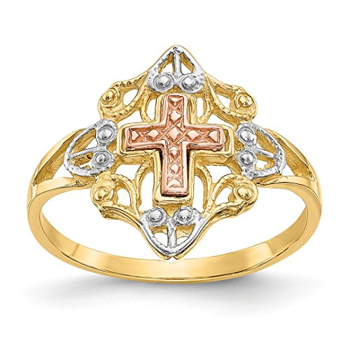 14k Yellow Rose Gold Cross Religious Band Ring Size 7.00 Fine Jewelry Gifts For Women For Her ()