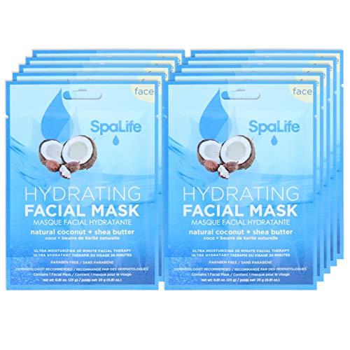 SpaLife Hydrating, Purifying, Anti-Aging, Detoxifying and Soothing Korean Facial Masks - 10 Masks (10 Masks (Coconut + Shea Butter))