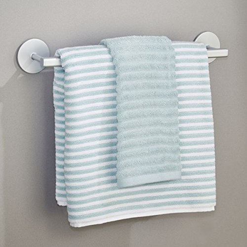 mDesign toallero adhesivo elegante de aluminio en color plateado - Para toallas de la cocina o baño - Fácil instalación - toalero sin taladro: Amazon.es: ...