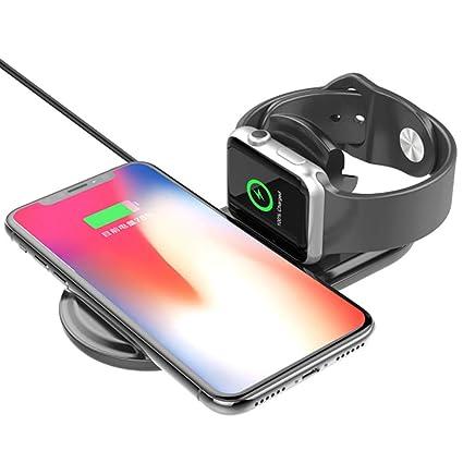 Mengen88 Cargador inalámbrico 2 en 1 Escritorio Soporte de Carga con iPhone Base Soporte Compatible con Apple Watch Serie 1/2/iPhone ...