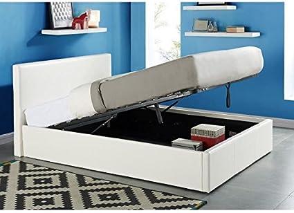 Java Cama arcón para ,160 x 200 cm, color blanco + somier ...
