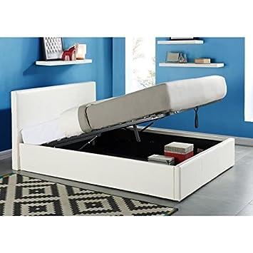 Java Cama arcón para ,160 x 200 cm, color blanco + somier: Amazon.es: Hogar