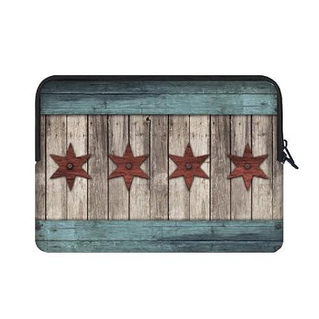 Mejor elegante Chicago Estado bandera Vintage madera patrón 15.6 inch Laptop/Ordenador portátil Manga Bolsa