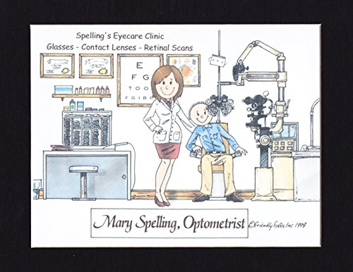 Optometrist Personalized Gift Custom Cartoon Print 8x10, 9x12 Magnet or Keychain by giftsbyabigail