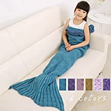 KALRI Children Soft Crochet Mermaid Tail Blanket Handmade Knitting Kid's Sofa Sleeping Bag (blue-kids, 53.15'' x 25.59'')