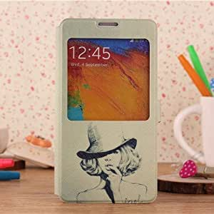 JUJEO Pretty Girl in Hat View Window Leather Cover Stand for Samsung Galaxy Note 3 - Non-Retail Packaging - Multi Color