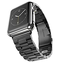 Apple Watch Band, iWatch Stainless Steel Metal Replacement Bands with Durable Folding Clasp + WatchBand Size Remover Adjuster 42mm Space Gray