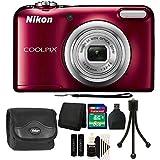Nikon COOLPIX A10 16.1 MP Compact Digital Camera (Red) + 2017 Top Bundle