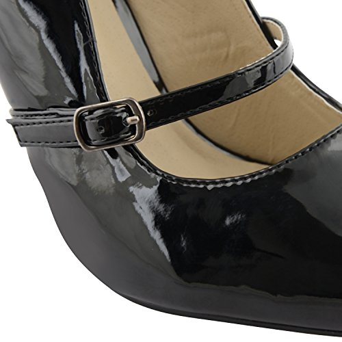 Footwear Sensation - Puntera alargada, abertura lateral mujer Beige - negro (black patent)