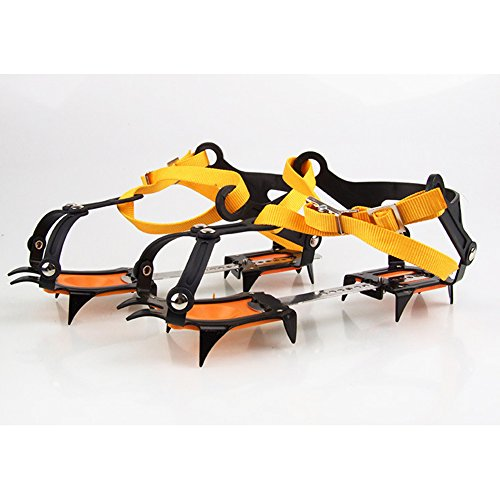 OSOPOLA eForCrazy Adjustable ice grips gear Strape Type Anti-slip Ski Belt Hiking Outdoor Climbing 10 Crampon for Hiking Shoes and Boots