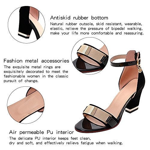 Heel with Band ForeMode Women's Strap Ankle Pump Single Sandal Chunky Black Sandals awfYfqEI