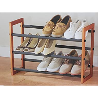 16 Pair Wood Frame Expandable Shoe Rack by Better Homes and Gardens
