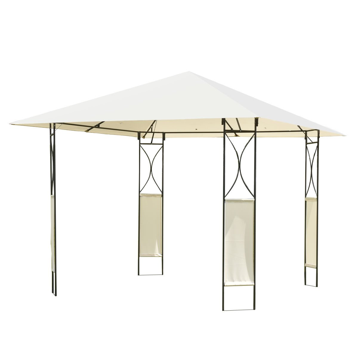 10'x10' Square Gazebo Canopy Tent Shelter Awning Garden Patio W/Beige Cover New + FREE E-Book
