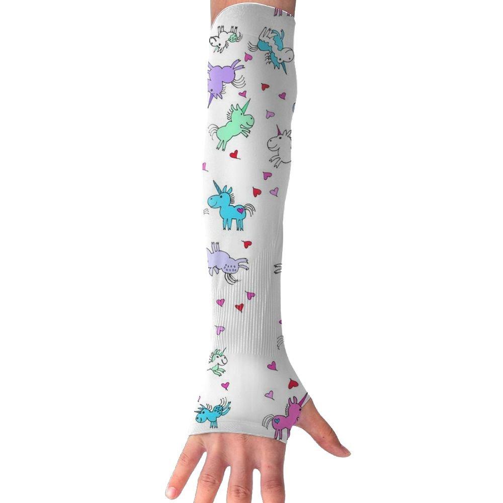 Huadduo Cartoon Unicorns UV Sun Protection Sleeves,Cooling Arm Sleeves For Men Women Long Arm Sleeve Glove