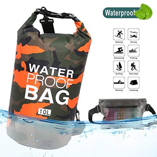 (Idefair Waterproof Dry Bag 10L 20L, Floating Backpack with Waist Pouch, Lightweight Roll Top Dry Compression Sack for, Boating, Fishing, Kayaking, Swimming, Rafting, Camping (10L, Orange))