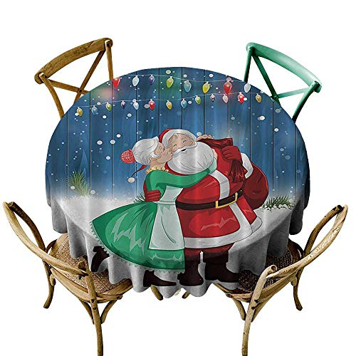 (Tablecloths Holiday Season Christmas Decorations,Mrs. Claus and Santa Sweet Kiss in Snow Fun Art Digital Design,Blue Red Green and White D60,for Cards)