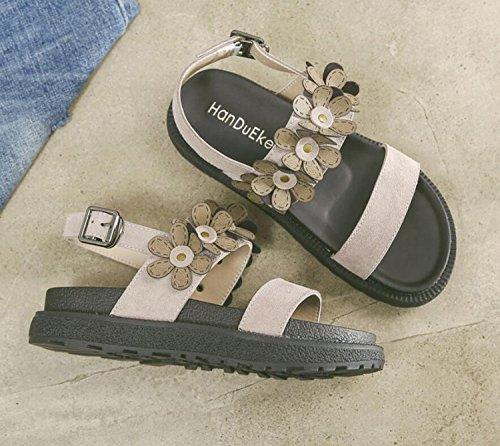 Épaisses Mode Kaki Semelles Femmes DANDANJIE 34 Taille Filles à Grande Camel Rétro Confortable Chaussons 43 Boucle Chaussures Sandales Casual Kaki Sandales Fleurs q1OBwY