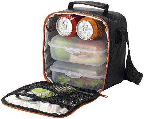 Mini Kühltasche Lunchtasche Snacktasche Pausentasche Picknicktasche in schwarz mit 2 Lunchboxen von geschenkartikel-shopping