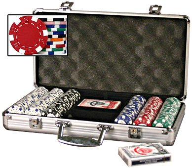 DA VINCI Set of 300 11.5 Gram Dice Striped Poker Chips with 2 Decks of Playing Cards