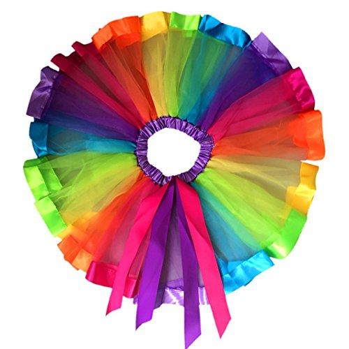Blackobe Girls Layered Rainbow Tutu Skirt Dance Dress Ruffle Tiered Clubwear (4-6Y)