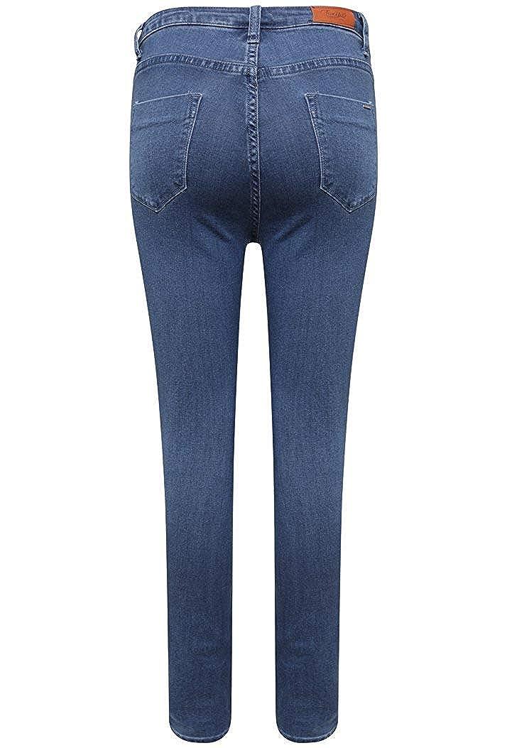 Toxik3 Damen Skinny Jeanshose Blau mittelblau 36: