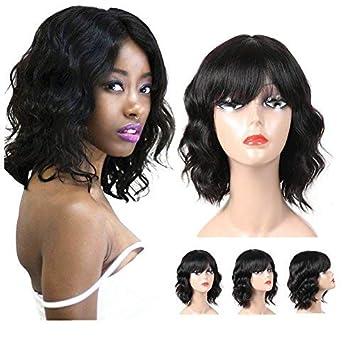 Amazon.com   Molefi Short Wigs for Black Women 100% Human Hair Body Wigs  with Bangs Machine Made Glueless Wigs Natural Looking (Body Wig))   Beauty ae0d0c0e7e