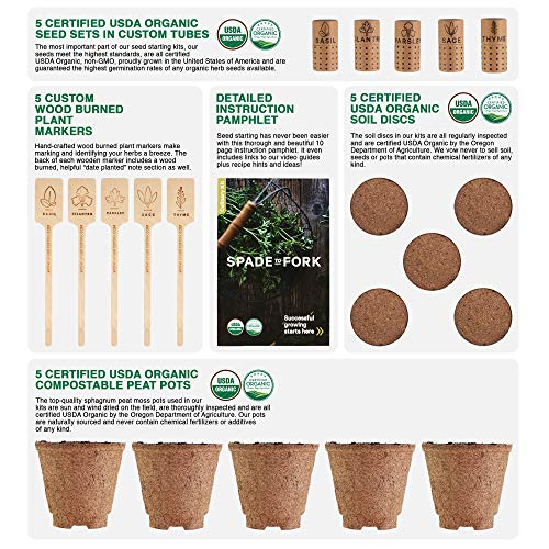 Indoor Herb Garden Starter Kit - Certified 100% USDA Organic Non GMO - Potting Soil, Peat Pots, 5 Herb Seed Basil, Cilantro, Parsley, Sage, Thyme - DIY Kitchen Grow Kit for Growing Herb Seeds Indoors by Spade To Fork (Image #2)
