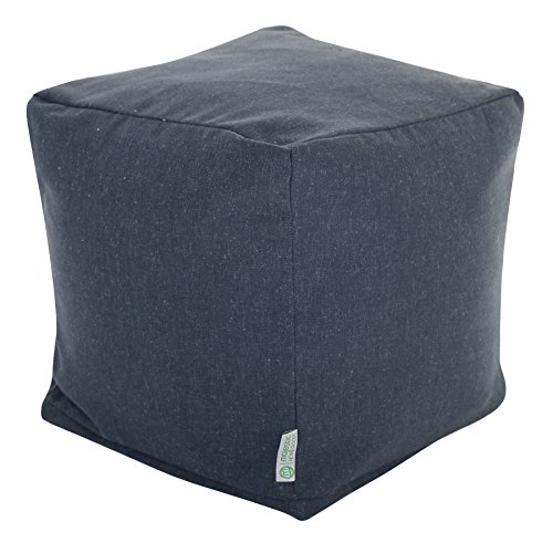 Majestic Home Goods Navy Wales Indoor Bean Bag Ottoman Pouf Cube 17