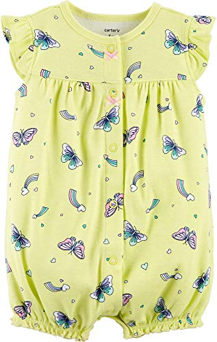 (Carter's Baby Girls' Ground Rainbow Snap Up Cotton Romper (6 Months, Yellow Butterfly) )