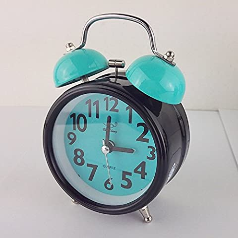 Loud Alarm Clock for Heavy Sleepers with Twin Bell and Light Ghome Offer Beside Desktop Non Ticking Silent Great for Travel and Kids Battery Operated (3 -Inch, Blue (Twin Sleepers)