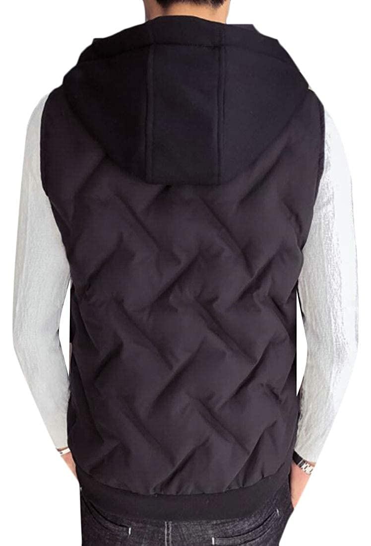 WSPLYSPJY Mens Sleeveless Winter Hooded Padded Front-Zip Warm Thicken Down Vest Jackets