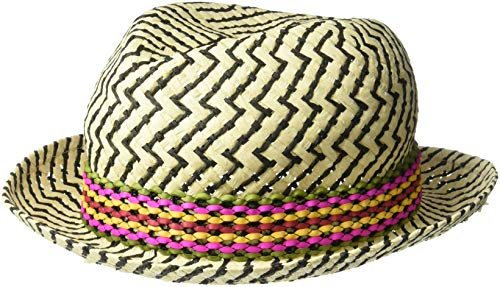 Paper Fedora Hat (Steve Madden Women's Textured Zig Zap Paper Fedora with Braided Band, Multi Natural, One)
