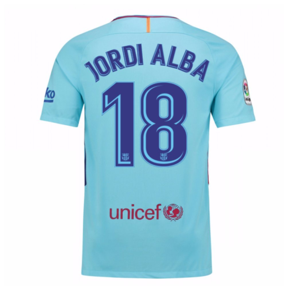 2017-2018 Barcelona Away Football Soccer T-Shirt Trikot (Jordi Alba 18) - Kids