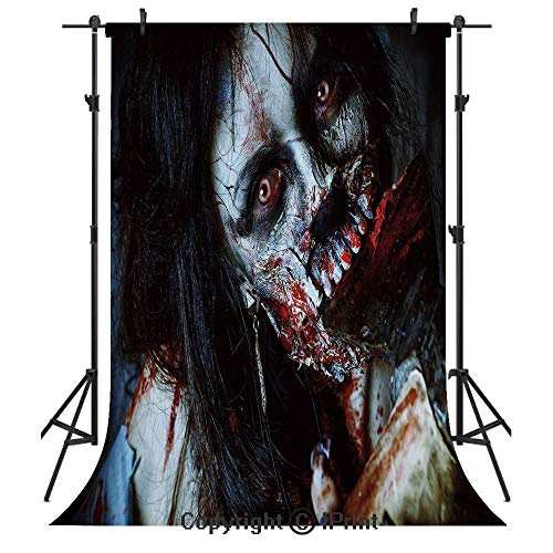 Zombie Decor Photography Backdrops,Scary Dead Woman with Bloody Axe Evil Fantasy Gothic Mystery Halloween Picture,Birthday Party Seamless Photo Studio Booth Background Banner 6x9ft,Multicolor]()