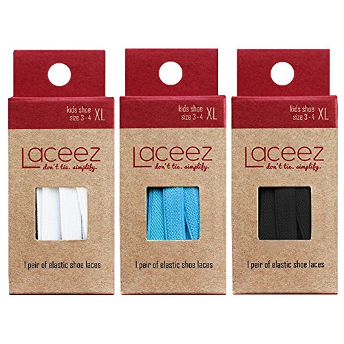 LACEEZ No Tie Shoelaces for Kids 3 Pack - Elastic Shoe Laces for Casual, Lifestyle, Athletic Sneakers