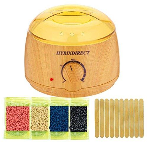 Hot Wax Warmer Hair Removal Kit Wood Pattern Wax Warmers Heater Waxing Melts Kits with 4 Flavors Hard Wax Beans 10 Wax Applicator Sticks (Wax Warmer Kits)