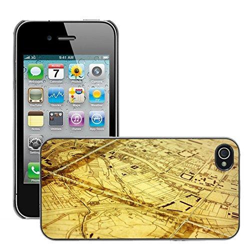 Premio Sottile Slim Cassa Custodia Case Cover Shell // V00002387 Carte de la ville // Apple iPhone 4 4S 4G