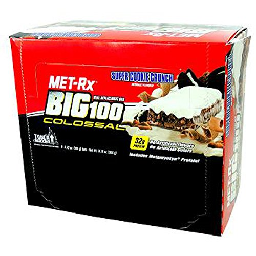 Product Of Met-Rx Big100, Bar - Colossal Super Cookie Crunch, Count 9 (3.52 oz) - Nutrition Bar With Protein / Grab Varieties & Flavors