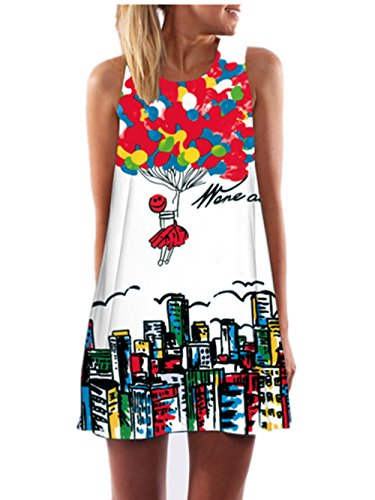 SRYSHKR 2017 Vintage Boho Women Summer Sleeveless Beach Printed Short Mini Dress (S, Red)