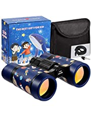 LTWQLing Toy Binoculars for Kids Best Gifts for 3-12 Years Boys Girls Rubber 4x30mm Shock Proof Children Binoculars for Bird Watching,Educational Learning,Hiking,Travel,Camping (Space Blue)