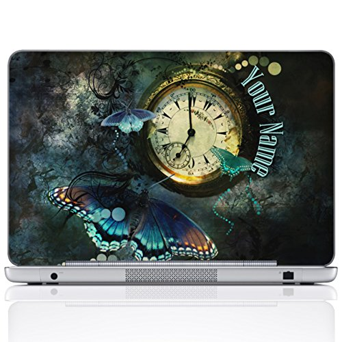 Meffort Inc Personalized Laptop Notebook Skin Sticker Cover Art Decal, Customize Your Name (15.6 Inch, Clock Butterfly)