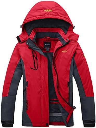 Wantdo Women's Mountain Waterproof Fleece Ski Jacket Windproof Rain Jacket