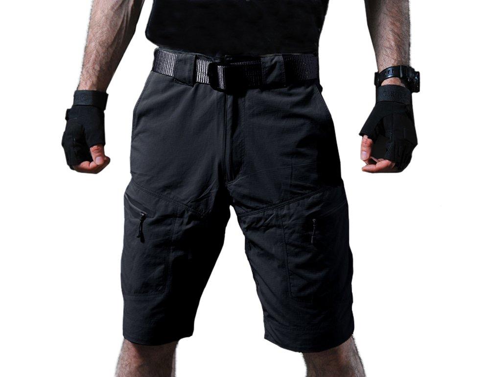 TACVASEN Men's Summer Breathable Quick Dry Ripstop Lightweight Hiking Shorts Black