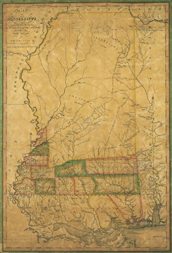 Vintage 1820 Map of Mississippi : constructed from the surveys in the General Land Office and other documents Mississippi, United States